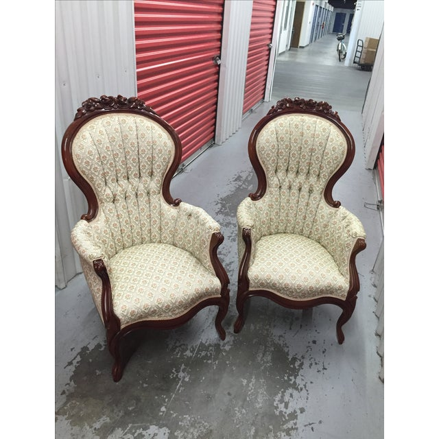 Victorian Mint Parlor Chairs - A Pair - Image 2 of 6