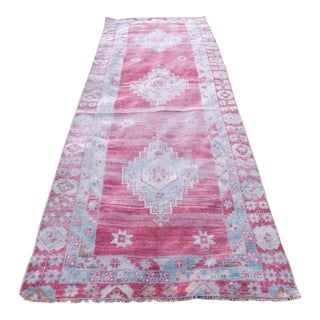 Hand-Knotted Turkish Kurdish Runner Rug - Tribal Design Low Pile Faded Runner For Sale
