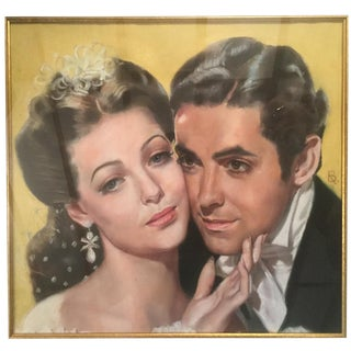 "1930s Vintage Ron Blumberg Tyrone Power and Loretta Young in Film ""Suez"" Pastel Drawing For Sale"