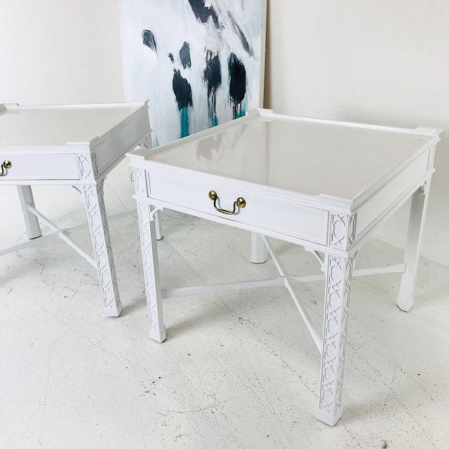 Chippendale Pair of Lacquered Chippendale Side Tables by Baker For Sale - Image 3 of 7