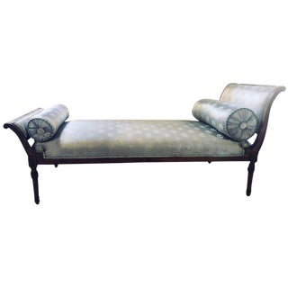 Fine Louis XVI Style Chaise Longue in Celeste Blue Upholstery For Sale