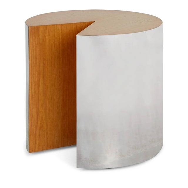 """Modern Pace Chrome and Wood """"Pac-Man"""" Cut-Out Side Table. Circa 1980 For Sale - Image 3 of 6"""