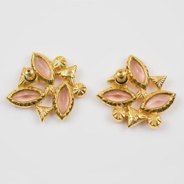 Yves Saint Laurent Yves Saint Laurent Paris Pierced Earrings Gilt Metal Pink Salmon Rhinestones For Sale - Image 4 of 7