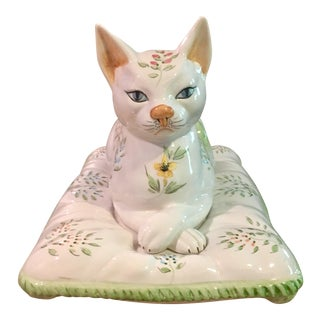 "Mid-Century Italian Majolica ""Cat on a Pillow"""