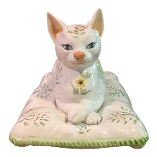 "Mid-Century Italian Majolica ""Cat on a Pillow"""