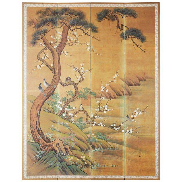 Japanese Edo Style Four-Panel Spring Landscape Screen For Sale - Image 13 of 13