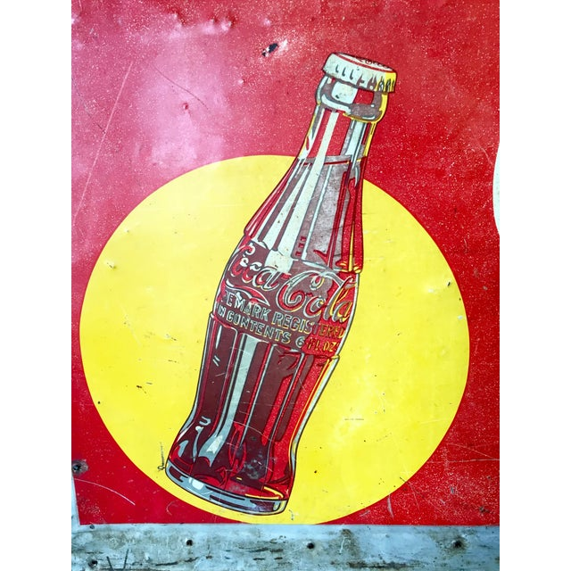 Vintage 1940s Original Metal Coca Cola Sign - Image 6 of 10