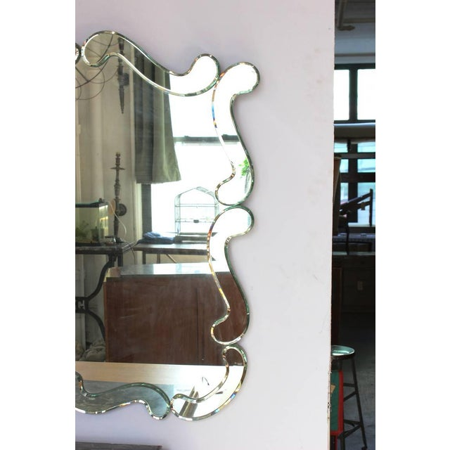 Mid-Century Modern Large 1950's Venetian Style Wall Mirror For Sale - Image 3 of 12