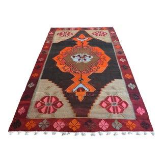 Handwoven Turkish Kilim Rug Anatolian Tribal Area Rug - 6′11″ X 12′10″ For Sale