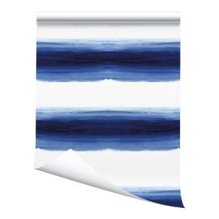"""Victoria Larson Wave Grasscloth Wallpaper Sample - Pacific - 10x10"""" For Sale"""