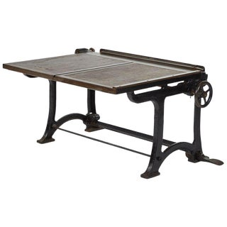 Iron Adjusting Drafting Table With Mahogany Top For Sale
