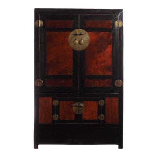 Antique Large Black Lacquer and Burl Wood Armoire From China, Late 1800s For Sale