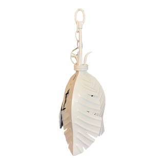 White Lacquered Palm Leaf Pendant For Sale