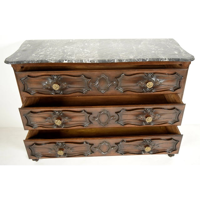 19th C. Louis XV Chest of Drawers with Marble-Top For Sale - Image 7 of 10