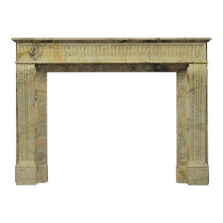 Antique Escallete Marble Louis XVI Fireplace Mantel - Free Shipping - For Sale
