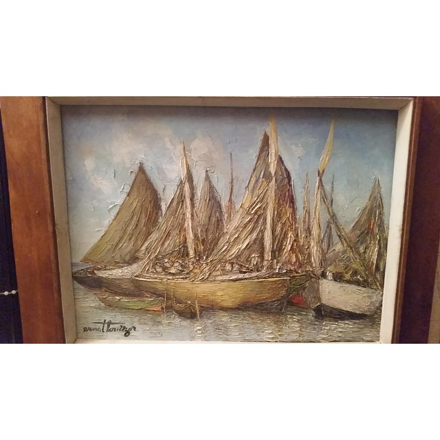 Vintage Haitian Boat Scene Oil Painting by Ernst Louiszor - Image 5 of 6