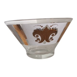 1960s Georges Briard Clear Glass Gold Fleur De Lis Design Punch Bowl For Sale