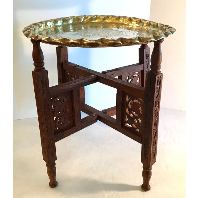 20th Century Campaign Carved Wood and Brass Tray Top Table For Sale - Image 9 of 9