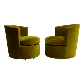 1980s Contemporary Forest Green Velvet Swivel Barrel Chairs - a Pair For Sale
