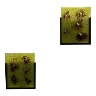Modernist Art Glass Slip Shade Sconces - a Pair For Sale