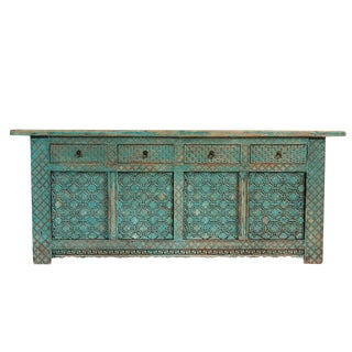 Turquoise Carved Elm Sideboard