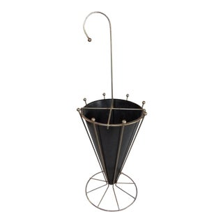 Vintage Mid-Century Atomic Gold and Black Metal Umbrella Stand