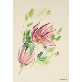 Mid Century Floral Study in Pink, Green and Lavender, Watercolor on Paper For Sale
