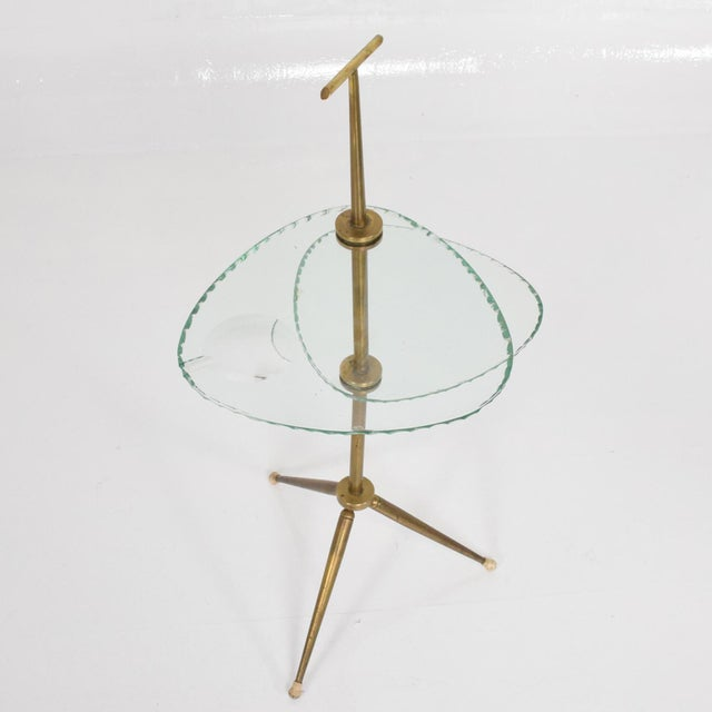 Gold Mid Century Modern Italian Side Table Brass & Glass After Fontana Arte For Sale - Image 8 of 11