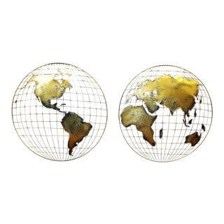 1983 Curtis Jere World Map Wall Sculpture - 2 Pieces For Sale