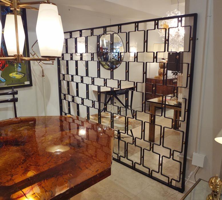 Exquisite Jean Royere Large Wrought Iron and Brass Screen France