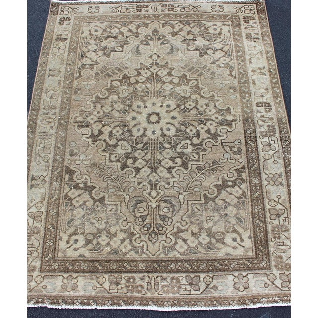 Neutral Tone Vintage Persian Lilihan Rug With Medallion For Sale In Atlanta - Image 6 of 13