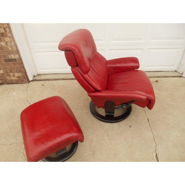 Ekornes Stressless Dream Red Leather Chair With Ottoman For Sale - Image 9 of 11