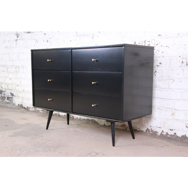 Planner Group Paul McCobb Black Lacquered Planner Group Six-Drawer Dresser For Sale - Image 4 of 12