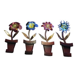 1970s Kitsch Metal & Wood Wall Hanging Flowers - Set of 4 For Sale