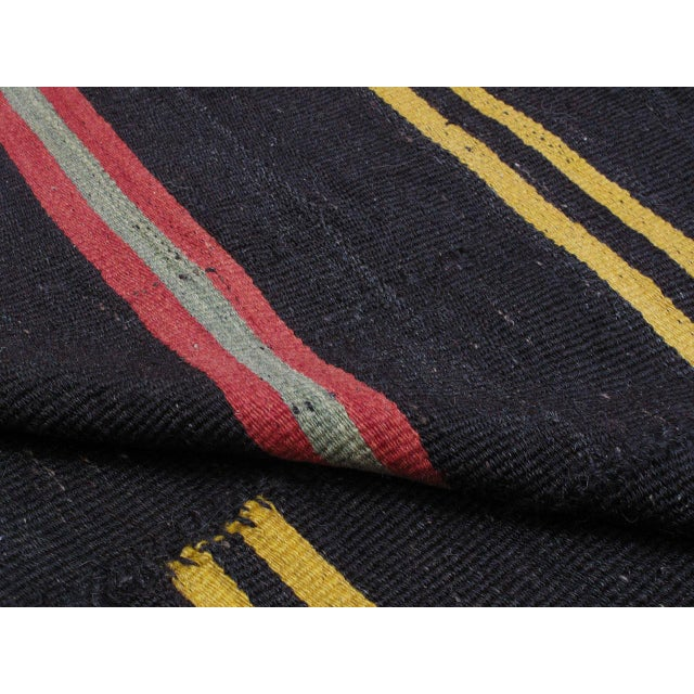 Red Large Kilim with Bright Stripes For Sale - Image 8 of 9