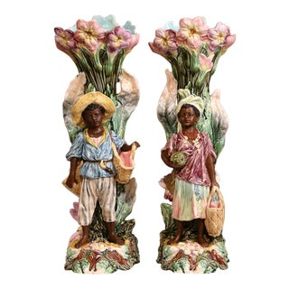 Pair of 19th Century French Hand-Painted Ceramic Barbotine Blackamoor Vases For Sale