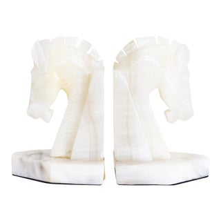 White Onyx Horse Bookends | Art Deco Style | Mid Century Reproduction For Sale