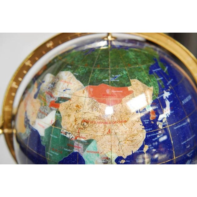 Blue Maitland Smith Attributed Pietra Dura & Brass Globe For Sale - Image 8 of 10