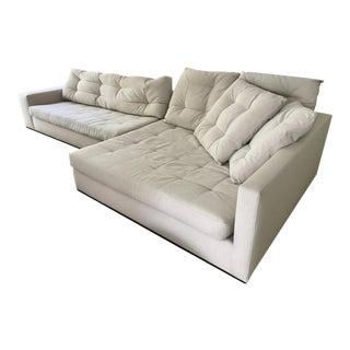 Environment Studio Modern Ecru Upholstered Sectional For Sale
