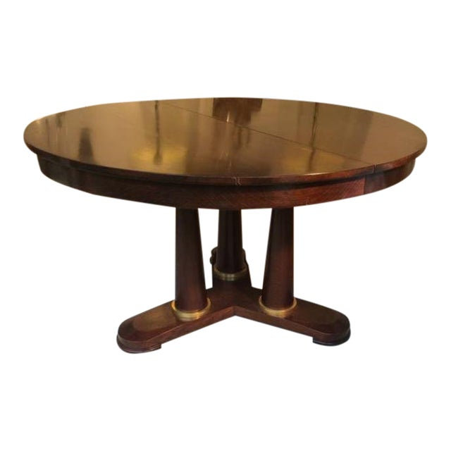 Jean Royère Genuine Tripod Round Dinning Table With Tri-Pedestal Base For Sale