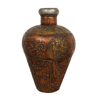 Early 20th Century Antique Tibetan Handcraft Copper Tin Container For Sale