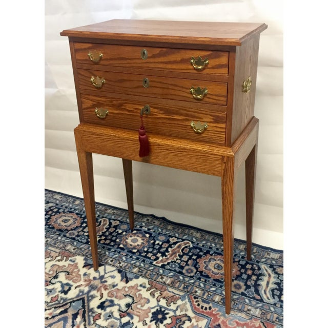 Stunning Tom Seely Solid Wood 3-Drawer Standing Chest For Sale - Image 13 of 13
