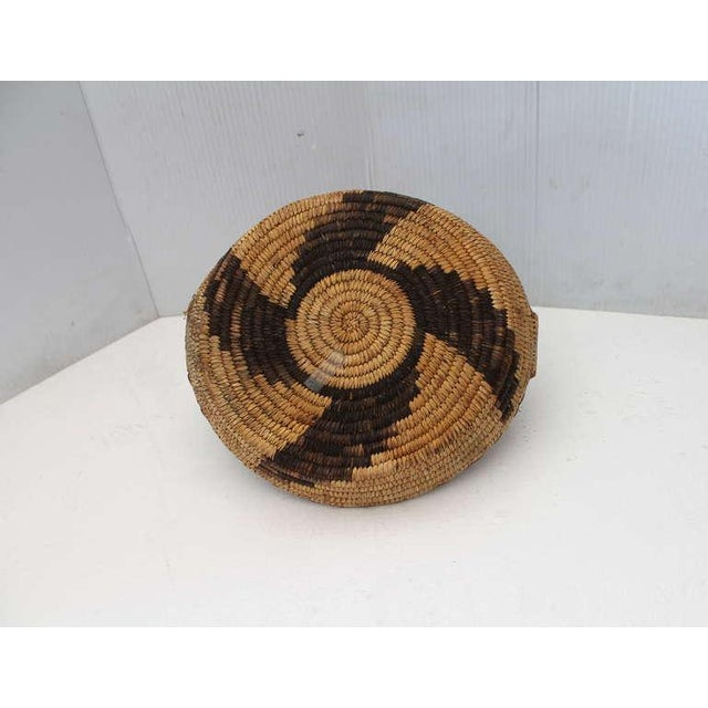 Brown Early 20th Century Papago Indian Handled Basket For Sale - Image 8 of 8