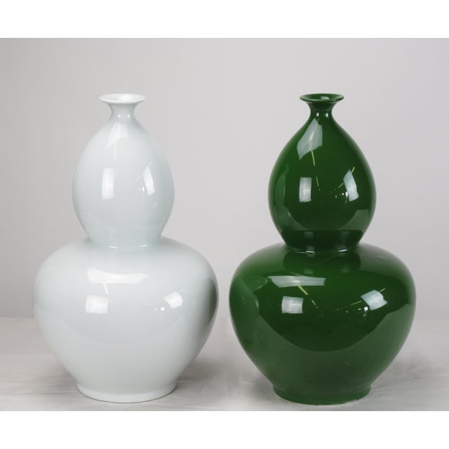 Asian Modern Green Bottle Gourd Porcelain Vase For Sale - Image 4 of 5