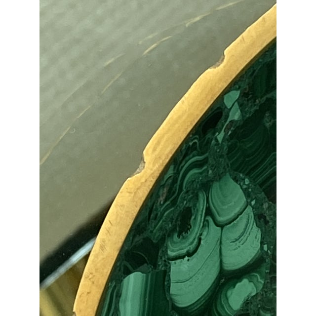 Green Vintage Oval Malachite Dish With Scalloped Brass Rim For Sale - Image 8 of 10