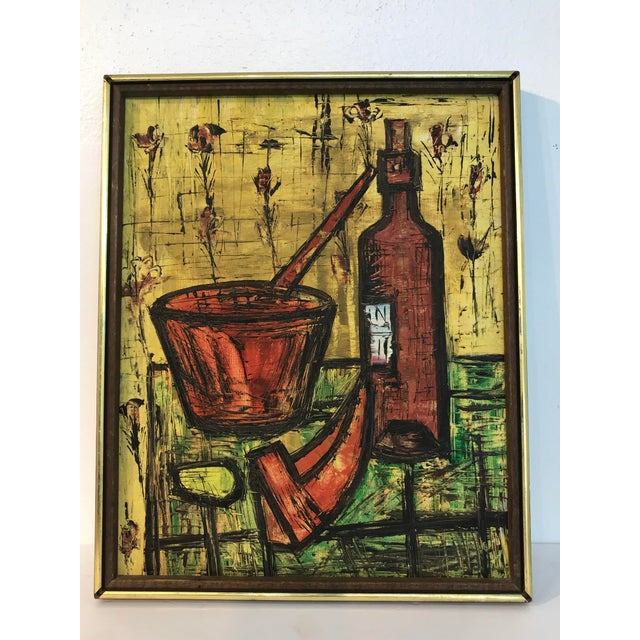 """Mid Century French School Still Life, in the Manner of Bernard Buffet, Unsigned Oil on Canvas 16"""" x 20"""" Framed 17""""x 21"""""""