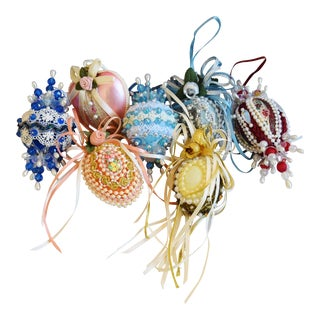 Vintage Fancy Beaded Christmas Tree Ornaments - Set of 7 For Sale