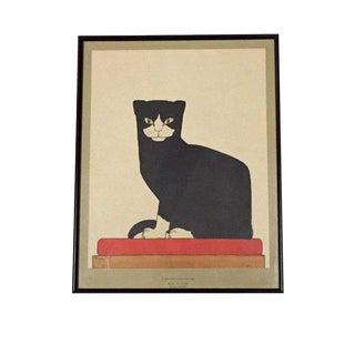 Mid Century Modern Black & White Tuxedo Cat Print by Bart Van Der Leck For Sale