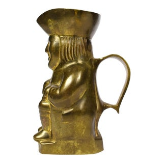 Vintage Mid-Century Solid Brass Colonial Man Creamer Pitcher For Sale