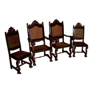 Antique Spanish Carved and Leather Chairs - Set of 4